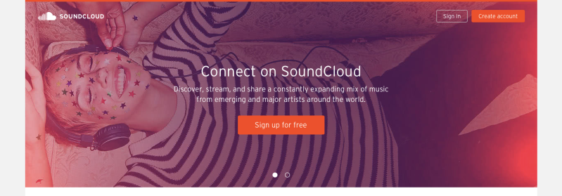 Screen shot of the website SoundCloud