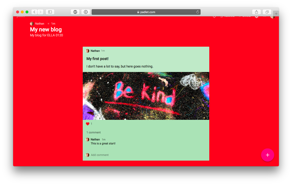 Student Blogging with Padlet – Nathan Hall