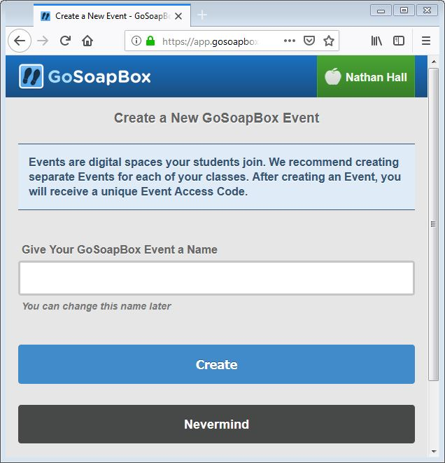 gosoapbox create an event 1